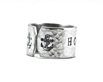 Hold Fast, Anchor Ring, Nautical Ring, Nautical Jewelry, Anchor Jewelry, Inspirational Message Jewelry, Inspirational Gifts Quote Jewelry