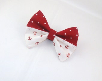 Hair Bow Nautical Red Polka Dots over White with Red Anchors Clip Girls Teen Woman Lorettajos EXCLUSIVE Two tone M2M bows