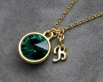 Initial Birthstone Jewelry, May Emerald Necklace, New Mother, Emerald Green Bridesmaids, Gold Letter Jewelry, Initial Necklace