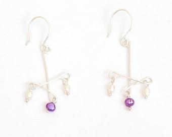 Sterling Silver Wire Earrings - Purple Freshwater Pearl Dangle Earrings Wedding Jewellery Gift for Her by Emma Dickie Design