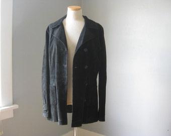 1990s Vintage Black Suede Coat