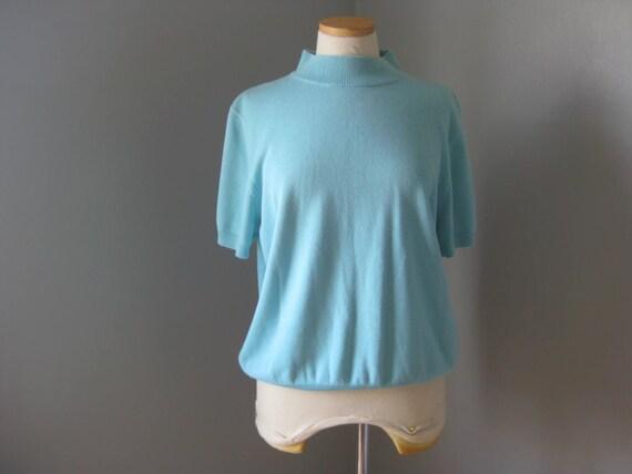 RESERVED - 1980s does 1950s Vintage Robin's Egg Blue Short-Sleeved Pullover L