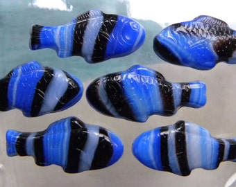 Glass Fish Beads, Czech Glass, Tri Color Blue, Black & White, Opaque, Tropical Fish, Large 28 x 13mm, 6 Pcs.