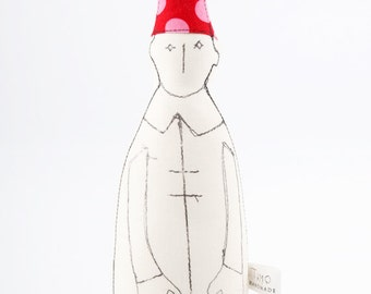 Soft sculpture - Black and White Dwarf with Pointy red hat with fuchsia pink Polka Dots  - eco handmade fabric doll