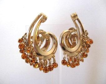 Vintage Rhinestone Earrings - Large Amber Rhinestone Dangle Earrings
