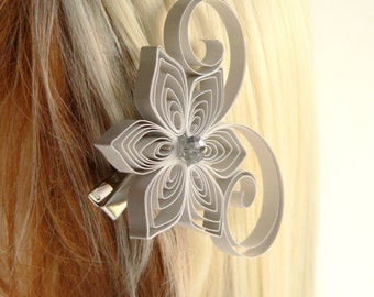 Bridal Hair Jewelry, White Silver Wedding Hair Clip, Light Silver Wedding Hair Accessory