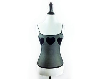 90's Sheer Mesh Velvet Hearts Tank Top // S - M