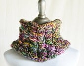Custom Hand Knit to Order - A tisket a Tasket - Textured Lace Cowl in Super Chunky Luxury Merino