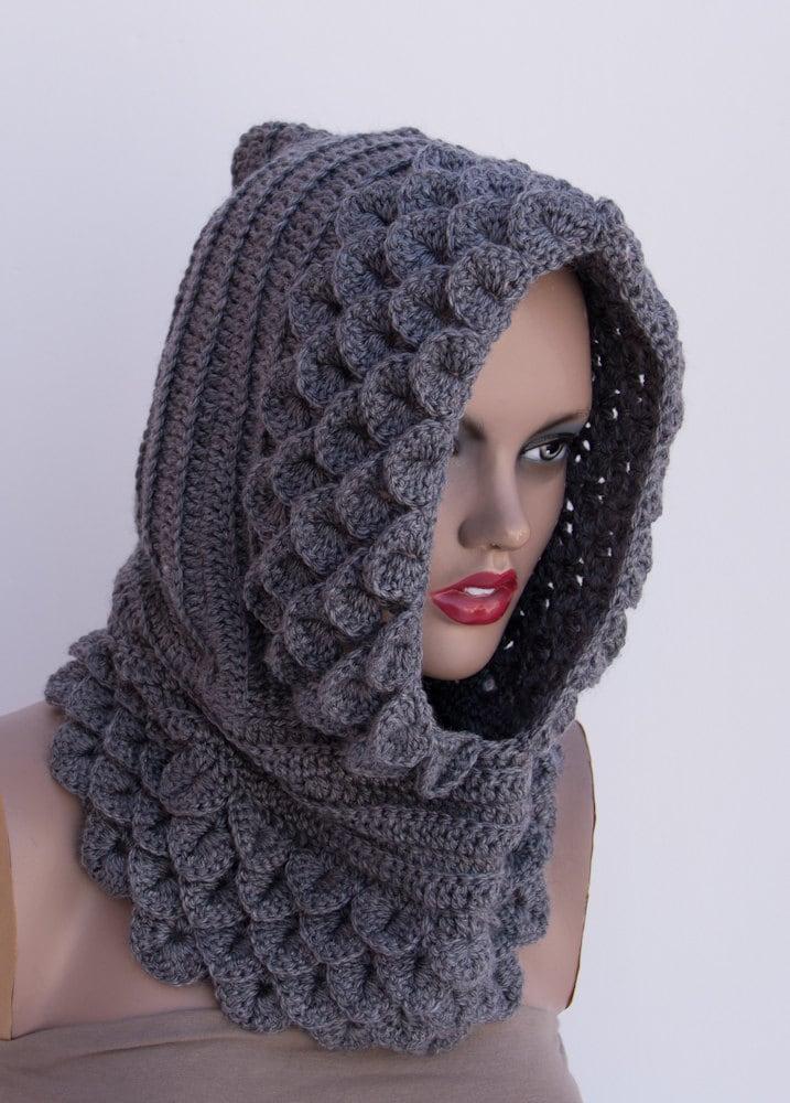 Crocodile Hooded Cowl Gray Crochet Handmade Womens Knit