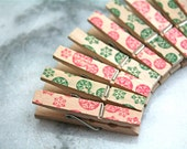 Mini Christmas clothespins, set of 12- hand stamped with red and green snowflake designs.  Christmas display or decoration.
