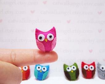 Felt Miniature - Felted Miniature owl - Felted owl - pink owl felted miniature - owl miniature - tiny owl - felted owl  - tiny owl