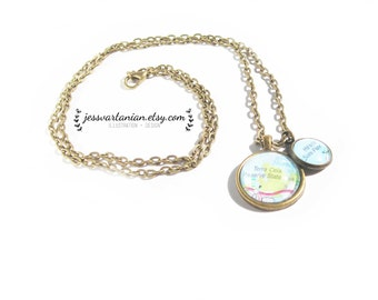 Custom Map Location Two Charms Necklace