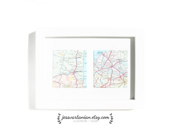 Two Squares Map Locations in a White Frame