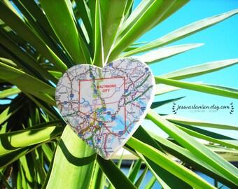 Custom Map Heart keepsake Ornament