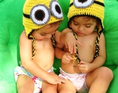 Minion Earflap Hat Despicable Me Toddler/Child Size Hat/Photoprop Halloween Costume