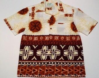 Hawaiian Shirt Vintage Aloha Shirt Altogether Mark Christopher 1970s Tiki Hawaii Island Border Print Brown Batik Polynesian Tribal Designs