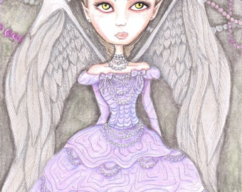 Angel artwork, big eyes girl, fantasy art print, purple, lilac, lavender, light pastels