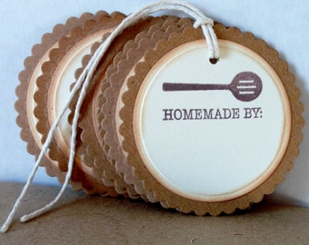 Set of 6 Hand Stamped Cookie Tags, Hand Stamped Baked Goods Tags, Hand Stamped Mason Jar Tags