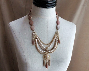 MOONGLOW Pink Moonstone Pearl Chain Necklace