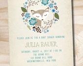 WOODLAND FOX Wreath Rustic Vintage Baby Shower Invitation - Printable Digital file or Printed Invitations