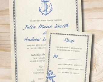 RUSTIC ANCHOR Initials Monogram Wedding Invitation/Response Card - 100 Professionally Printed Invitations & Response Cards