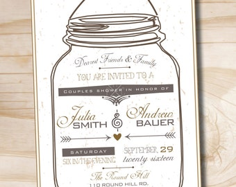 Mason Jar Invitation - Printable digital file or printed invitations