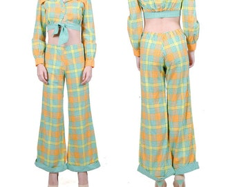 Vintage 70s Hippie Bell Bottoms - 70s Pant Set - Retro Crop Top - Plaid Suit Set - XXS - XS