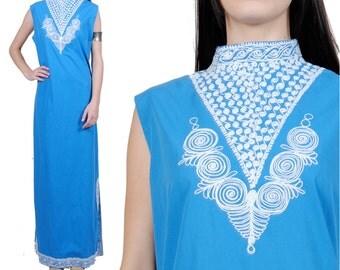 50s 60s Vintage Ethnic Bohemian Dress - Hippie Festival Maxi Dress - Sleeveless Maxi Dress - Medium - Large