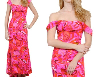 70s Vintage Bohemian Maxi Dress / Hot Pink Maxi Dress / Retro Print / Vintage Hippie Dress / XS / S