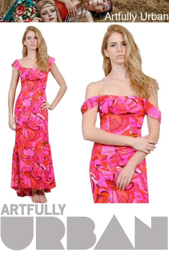 70s Vintage Bohemian Maxi Dress / Hot Pink Maxi Dress / Retro Print / Vintage Hippie Dress / XS / S