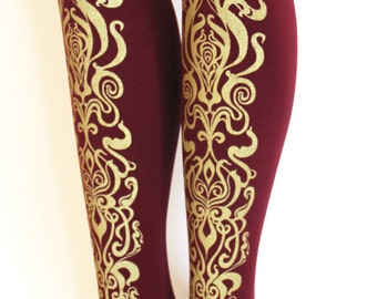 Art Nouveau Print Tights Gold on Bordeaux Oxblood Burgundy Medium Large Tall Womens Fashion Metallic Legwear