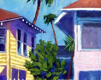 "Roofs -Beach House Palm Tree -Acrylic Painting- Archival Print-12""x 10"""