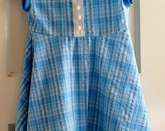 Baby Blue Plaid with White Trim and Buttons Girls A-line Sundress Toddler Size 1/2