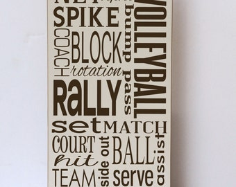 Volleyball Subway Art Wood Sign, Child Wall Art, Child Bedroom Decor, Volleyball  Decor