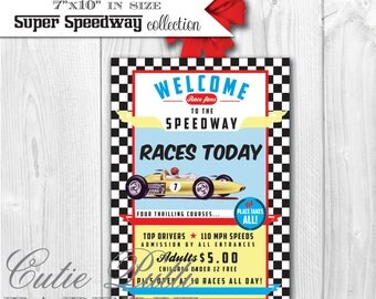 Race Car Party Vintage Race Car Birthday - PRINTABLE WELCOME SIGN Door Sign - Cutie Putti Paperie