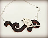 Literary Bird Necklace Wood and Silver Chain with Hearts - The Bibliophile Collection