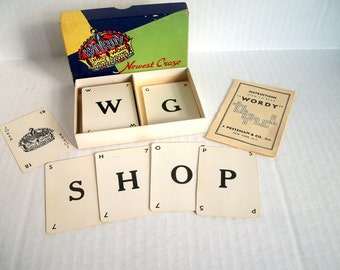 Vintage Card Game Wordy Cross Word Game / Supply for Crafters