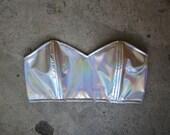 rojas hologram prism silver or gold bustier bra holographic corset rainbow prisms bandeau top coachella 90s edc  rave hologram rainbow