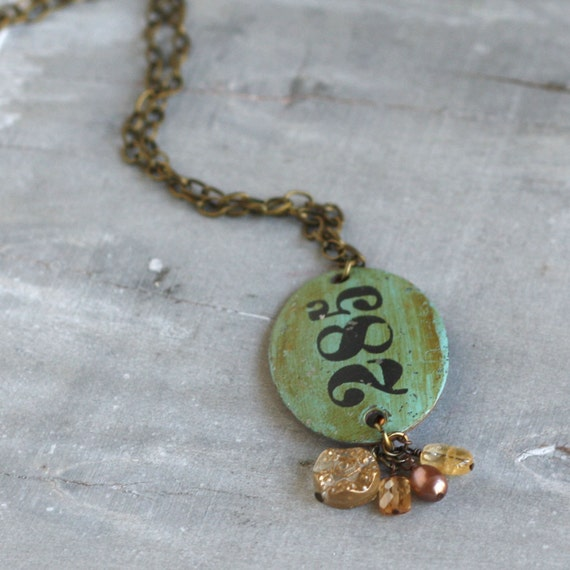 """Vintage Style Charm Necklace with Locker Tag """"285"""""""