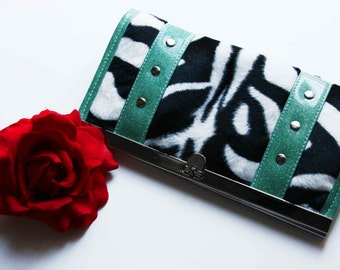 Zebra Wallet with Your Choice of Vinyl Trim, Rockabilly, Retro, Pin Up, Animal Print - MADE TO ORDER
