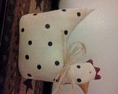 Handmade, Hand Painted, Fabric, Primitive, Chicken, Home Decor