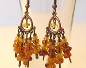 Baltic amber earrings, Autumn Dangle Earrings, Amber Earrings, Gemstone Earrings, Autumn Fall Jewelry, honey yellow, copper