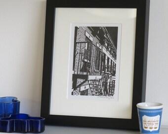 W23rd Street New York - Handprinted / Hand pulled Linocut