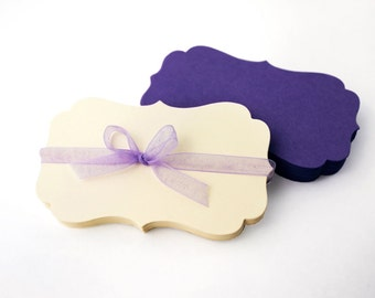 "Die Cut Business Cards, 30 Blank 3.5"" x 2"" flat bracket note card, wedding place cards, hang tag, packaging earring card"