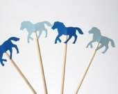 24 Mixed Blue Horse Party Picks, Cupcake Toppers, Food Picks, Toothpicks, Drink Picks - No1013
