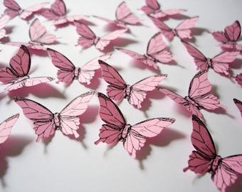 25 Pink Elegant Butterfly confetti scrapbook embellishments - No1002