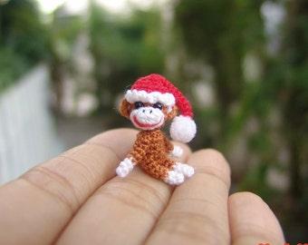 1 inch miniature Christmas sock monkey - Tiny amigurumi crochet animal