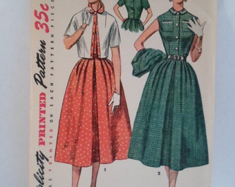 Vintage Simplicity 1953 short sleeve full skirt dress and jacket  women's 2pc outfit sewing pattern