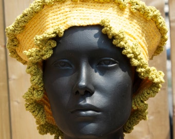 Yellow Colourful Crochet Hat with a Cute Fimo Pin...