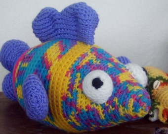 Crochet Stuffed Animal Fish-TAFFY-Large Rainbow Bright Fish -Amigurumi-Fish Plush Home Decor-Collectible Crochet Art Fish-Marine Animal Fish